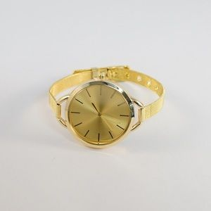 Accessories - Womens all Gold Watch with thin mesh band, straps